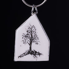 Large Porcelain House Pendant with Single Tree by Diana Eldreth (Ceramic Necklace)