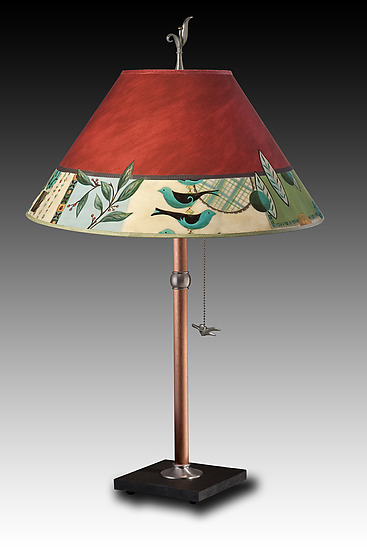 Copper Table Lamp with Large Conical Shade in New Capri