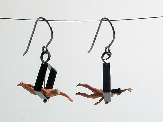 Swimmers in Diamond Shape Earrings