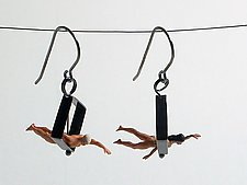 Swimmers in Diamond Shape Earrings by Kristin Lora (Silver Earrings)