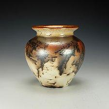 Horsehair Raku Vessel by Lance Timco (Ceramic Vessel)