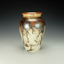 Horsehair Raku Pottery Vessel I by Lance Timco (Ceramic Vessel)