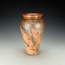 Orange Horsehair Raku Vessel by Lance Timco (Ceramic Vessel)