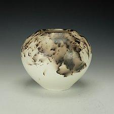 Horsehair Raku Vessel in White by Lance Timco (Ceramic Vessel)
