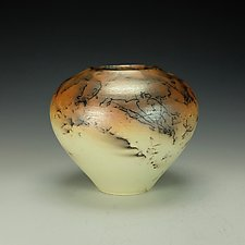 Yellow-Green Horsehair Raku Vessel by Lance Timco (Ceramic Vessel)