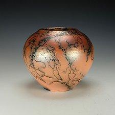 Orange Horsehair Raku Vessel II by Lance Timco (Ceramic Vessel)