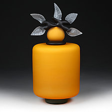 Novi Zivot (New Life) Saffron Satin Short Cylinder by Eric Bladholm (Art Glass Vessel)