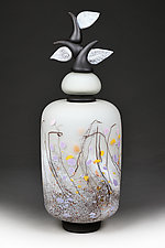 Izrazi Zivota (Expressions of Life) Satin Ivory Abstract by Eric Bladholm (Art Glass Vessel)