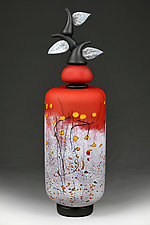 Izrazi Zivota (Expressions of Life) Satin Crimson Abstract by Eric Bladholm (Art Glass Vessel)