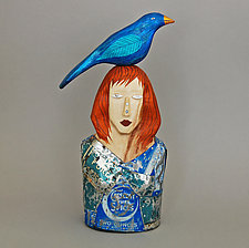 Madam Bluebird by Elizabeth Frank (Wood Sculpture)