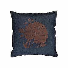 Denim Flocked Peony Pillow by Helene  Ige (Denim Pillow)