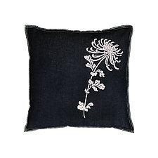 Large Denim Flocked Mum Pillow by Helene  Ige (Denim Pillow)