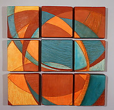 Nine Tiles by Liza  Halvorsen (Ceramic Wall Sculpture)