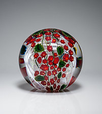 Poinsettia Paperweight by Shawn Messenger (Art Glass Paperweight)
