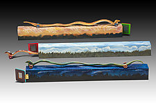 Wavy Snakes at Home by Dona Dalton (Wood Sculpture)