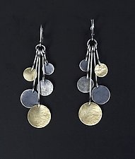 Hammered Disk Drop Earrings by Lisa Crowder (Gold & Silver Earrings)