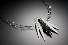 Silver Pod and Studded Ebony Necklace by Suzanne Linquist (Silver & Wood Necklace)