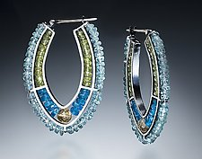 Blue Hoop Earrings by Susan Kinzig (Beaded Earrings)