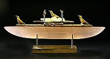 Crow Boat Two by Georgia Pozycinski and Joseph Pozycinski (Art Glass & Bronze Sculpture)