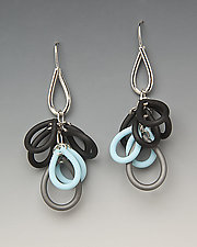 Multi-Color Loops Earrings by Lonna Keller (Silver & Neoprene Earrings)