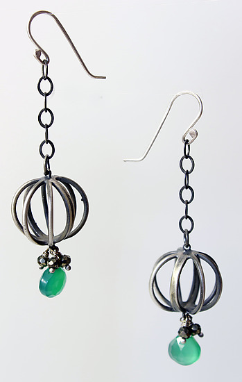 Tiny Cage Earrings with Emeralds and Pyrite