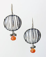 Filigree Earrings with Carnelian and Rubies by Ashley Vick (Silver & Stone Earrings)