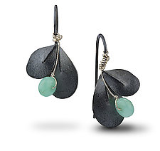 Oxidized Indigo Leaf Earrings by Jamie Cassavoy (Silver & Stone Earrings)