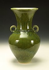 Green Handled Vessel by Lance Timco (Ceramic Vessel)