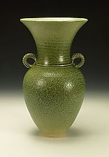Green Wide-Mouth Handled Vessel by Lance Timco (Ceramic Vessel)