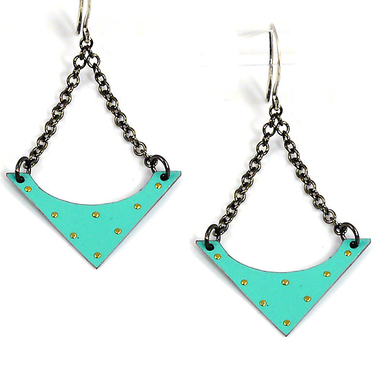 Recycled Tin Can Shield Earrings