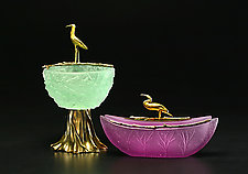 Nest Bowl and Cormorant Bird Box by Georgia Pozycinski and Joseph Pozycinski (Art Glass & Bronze Sculpture)