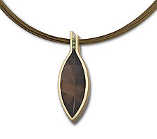 Smoky Quartz Pendant With Green Diamonds by Claudia Endler (Gold & Stone Necklace)
