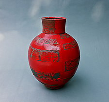 Vermillion Lines by Paul  Schneider (Ceramic Vase)