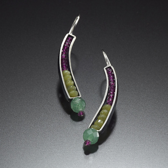 Beaded Curve Earrings in Jade and Garnet