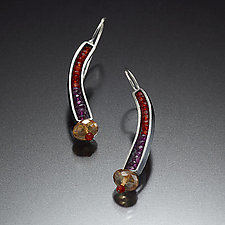 Beaded Curve Earrings Garnet and Sapphire by Susan Kinzig (Beaded Earrings)
