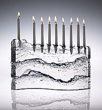Wave Menorah by Joel and Candace  Bless (Art Glass Menorah)
