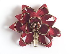 Red Zipper Pin by Kate Cusack (Zippered Brooch)