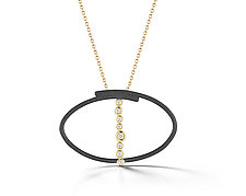 Scribble Ellipse Pendant by Dana Melnick (Gold, Silver, & Stone Necklace)