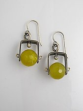 Short Climb Earrings with Olive Jade by Erica Stankwytch Bailey (Silver & Stone Earrings)