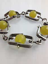 Short Climb Bracelet with Olive Jade by Erica Stankwytch Bailey (Silver & Stone Bracelet)