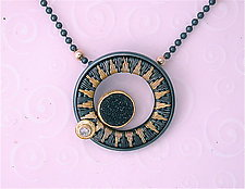 Gold and Black Druzy Pendant by Sally Craig (Gold & Silver Necklace)