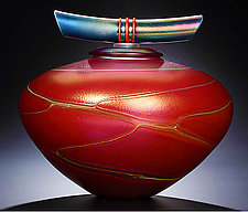 Red Ruby Bowl with Lid by John & Heather  Fields (Art Glass Vessel)