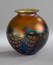 Amber Wave Vase by Carl Radke (Art Glass Vase)