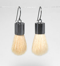 White Brush Earrings by Kristin Lora (Silver Earrings)