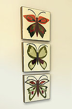 Three Butterflies by Lara Moore (Mixed-Media Wall Art)