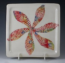 Pinwheel Porcelain Plate by Carol Barclay (Ceramic Plate)