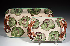 Rabbit/Lettuce Tray by Peggy Crago (Ceramic Tray)