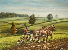 Mountain Plowing by Werner Rentsch (Oil Painting)