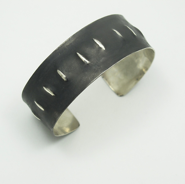 Narrow Oxidized Silver Cuff with Lines