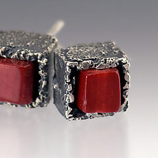 Mini Cubeberry Earrings by Aleksandra Vali (Silver & Stone Earrings)